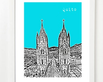 Quito City Art - Quito Ecuador Skyline Print - City Series Poster -  VERSION 3