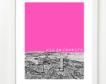Rio de Janeiro Poster - Rio Brazil City Skyline Series Art Print - South America Travel Art - VERSION 1