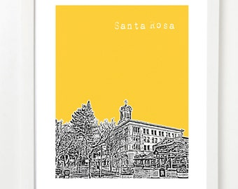 Santa Rosa, California Poster - Santa Rosa City Skyline Series Art Print - Santa Rosa California State Art -