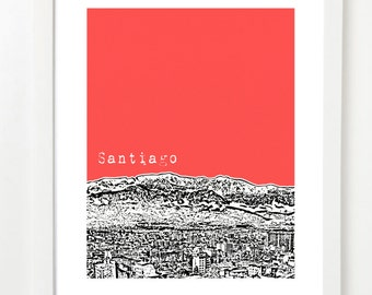 Santiago Skyline Poster, Chile Art Print - Santiago Chile City Skyline Series - Santiago South America - VERSION 1