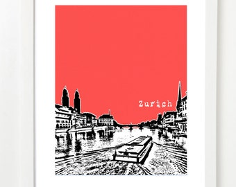 Zurich, Switzerland Poster - City Skyline Art Print - Europe Series - Zurich Poster