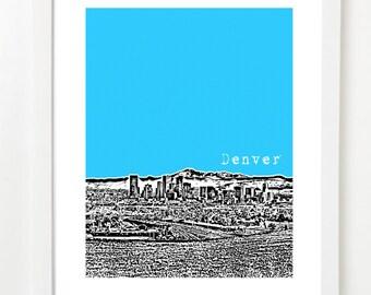 Denver Art - Denver Skyline Poster - Rocky Mountain View - VERSION 3