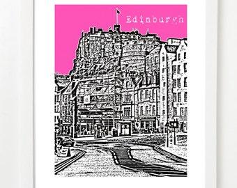 Edinburgh Skyline Poster - Edinburgh, Scotland Art - UK Travel Art - VERSION 2