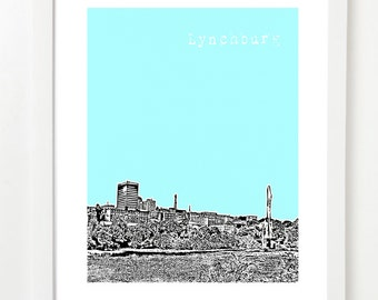 Lynchburg Virginia Poster - Lynchburg City State Skyline Art Print - Lynchburg VA