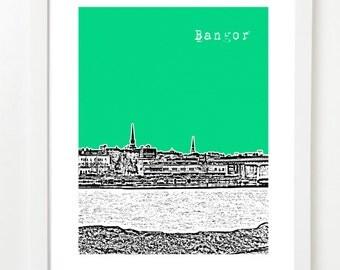 Bangor Maine Skyline Poster - Bangor Art Print Bangor ME - City Skyline Poster