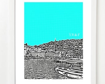 Hvar Skyline Poster, Croatia Art Print - Hvar City Skyline Series  - Hvar Croatia