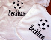 Personalized bib and onesie with applqued soccer ball