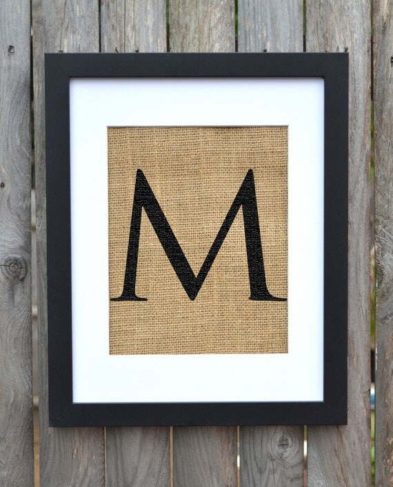 Letter M Monogram Alphabet Burlap Wall Decor By Fiberandwater
