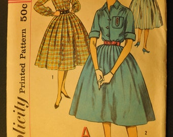 Misses' One-Piece Dress Size 14 Bust 34 Vintage 1950s Sewing Pattern-Simplicity 2627