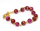 Purple Bead Bracelet - Red and Gold Patterns, Drawbench Beads