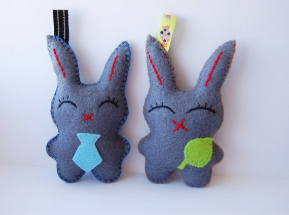 Two cute gray bunnies felt stuffed plush dolls toys charms key chains Christmas gift