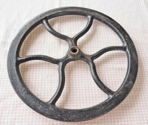 Antique Cast Iron Flywheels : Cast iron flywheel vintage antique black by rosebudsoriginals