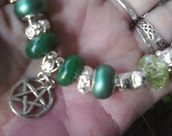 Pagan Wiccan, for the Goddess Quan Yin, Euro style bracelet