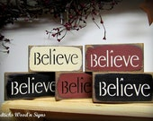 Believe Signs - Wooden set of 5 signs - Holiday Christmas Decor