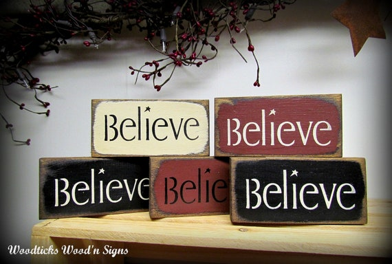 Believe Signs Wooden Set Of 5 Signs Holiday Christmas