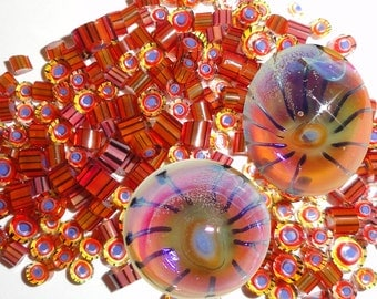 Fascination...Handmade Murrini Chips..Millefiori Slices COE 104 pink bright bollywood silver glass orange fire hot Beatlebaby Supply