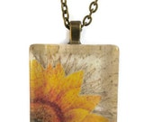 Glass tile pendant with sunflower image