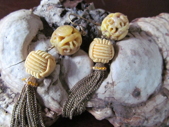 vintage Chinese ox bone carved earrings