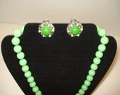 Vintage Earrings Clip On Green Stone with 6 Pearl Like Stones on Silver with Sherbert Green Beads