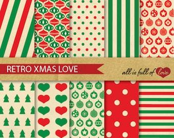 Digital Graphics RETRO Christmas Scrapbook Paper Kit Printable Papers Xmas Patterns Christmas Paper Pack
