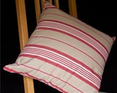 CLEARANCE SALE Handmade 18inch Square Red & Beige Cotton Cushion Cover