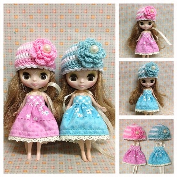 """Petite Blythe / Little Dal Outfit : """"Blossom Lover Twin Set"""" (2 Dresses and 2 Crochet hats)"""