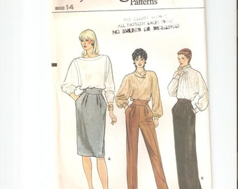 Vintage UNCUT Vogue Sewing Pattern 8743 for Skirt and Pants, Sz 14, 1980s