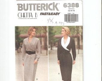 UNCUT Butterick Sewing Pattern 6388 for Dress, Sz 12-14-16, 1990s, Chetta B