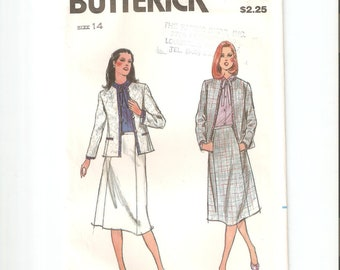 UNCUT Butterick Sewing Pattern 3013 for Jacket and Skirt, Sz 14, 1980s