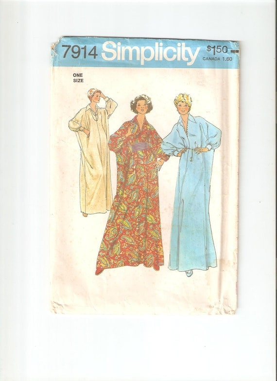 Vintage Simplicity Sewing Pattern for Caftan and Cummerbund, One Size, 1970s