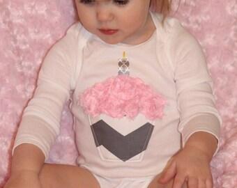 1st birthday cupcake onesie CHEVRON