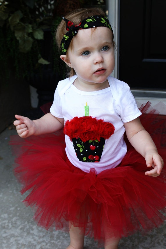 CHERRY cupcake 1st Birthday tutu outfit CUTE