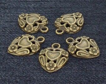 20Beads Charm Heart Flower  bronze Plated Victorian Pendants Base Beads ----- 14mmx19mm ----- 20Pieces 2F