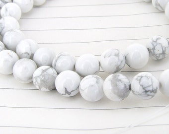 One Full Strand--- White Turquoise Gemstone Beads ----8mm----49 Pieces----15.5 inch strand