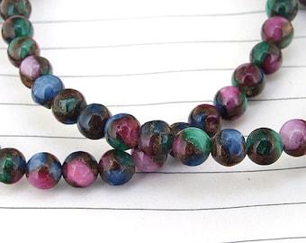 One Full Strand--- Charm Zambian Rainbow Jade Gemstone Beads ----6mm----67 Pieces----15.5 inch strand