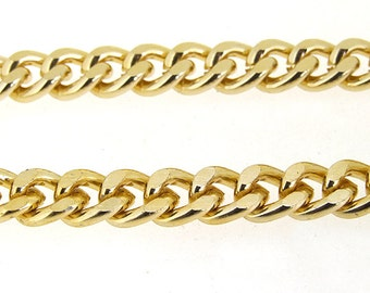 "One Strand 38"" (1m) Shiny Cut Twist Gold Plated Metalic Aluminium Chunky Curb Chain ----- 7mmx 9mm---thickness about 2mm----38"""