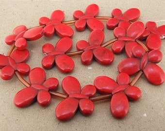 One Full Strand---Butterfly Red Turquoise Beads---(1inch)-25mm-35mmmm ----about 13Pieces----16inch strand