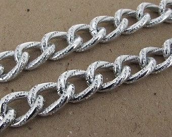 """Newest Shiny  Dot O  Silver Plated Metalic Aluminium Chunky Curb Chain ----- 15mmx 21mm---thickness about 4mm----38"""""""
