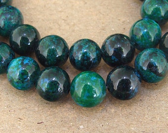 "Charm  Round turriform Azurite Chrysocolla Jasper Gemstone Beads--- 10mm ----about 40Pieces----15"" in length"