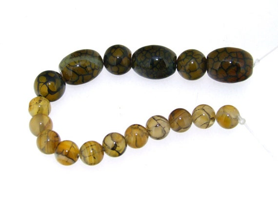 Round Dragon Coffee  Agate Beads ----- 10mm-15mm----- about 17Pieces ----- gemstone beads