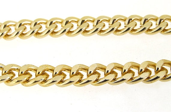 """One Strand 38"""" (1m) Shiny Cut Twist Gold Plated Metalic Aluminium Chunky Curb Chain ----- 7mmx 9mm---thickness about 2mm----38"""""""