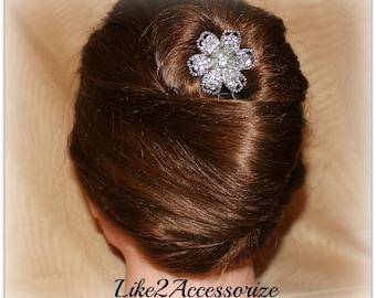 Bridal Hair Pins Wedding Accessories Rhinestone Flower Hair Pin Wedding Pin Bridal Hair Clip Brides Bridesmaid hair do Silver wire