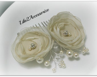 Bridal Headpiece Ivory Flower Hair Clip Wedding Hair Accessories Swarovski Pearl Bridal Hair Flower Clip Wedding Headpiece Flower Hair Comb