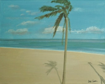 "Original painting ""Windy Palm at the Beach"""