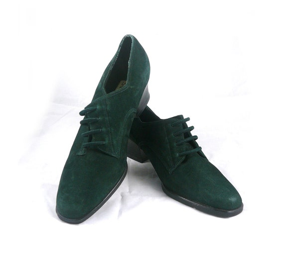 RESERVED until 8-28 - Vintage derby green suede Sam and Libby military style / band short boot / brogue menswear 9 M shoes