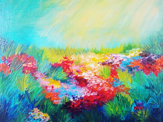 SALE - ETHEREAL DAYS Abstract Acrylic Painting, Free Shipping, Floral Landscape 11 x 14 Rainbow Wildflowers Field Summer Gift Artwork