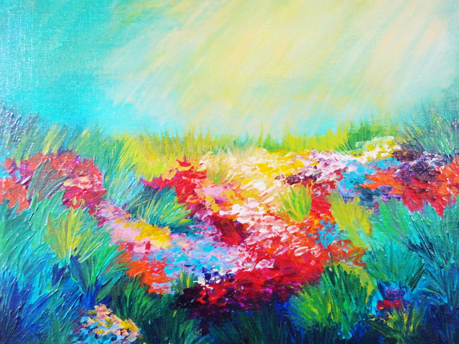 Sale ethereal days abstract acrylic painting free floral for Floral acrylic paintings