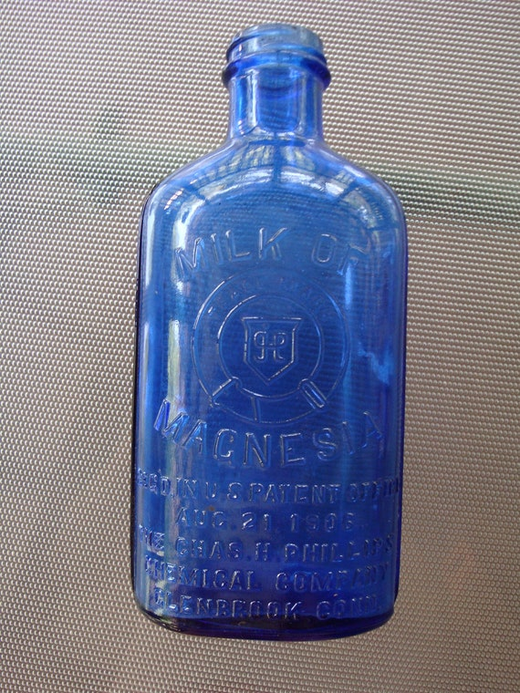 Cobalt Blue Milk of Magnesia Glass Bottle Aug. 21, 1906