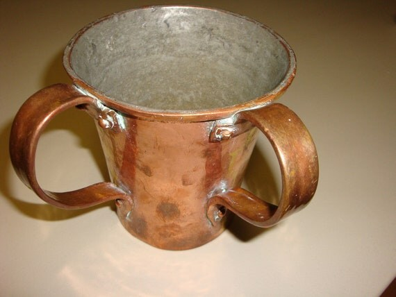 Antique hand forged moscow mule mug metal brass copper cup