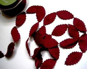 "Faux Suede Leaves Trim, Burgundy, 1"" inch, 1 Yard, For Scrapbook, Home Decor, Accessories, Apparel, Victorian Crafts"
